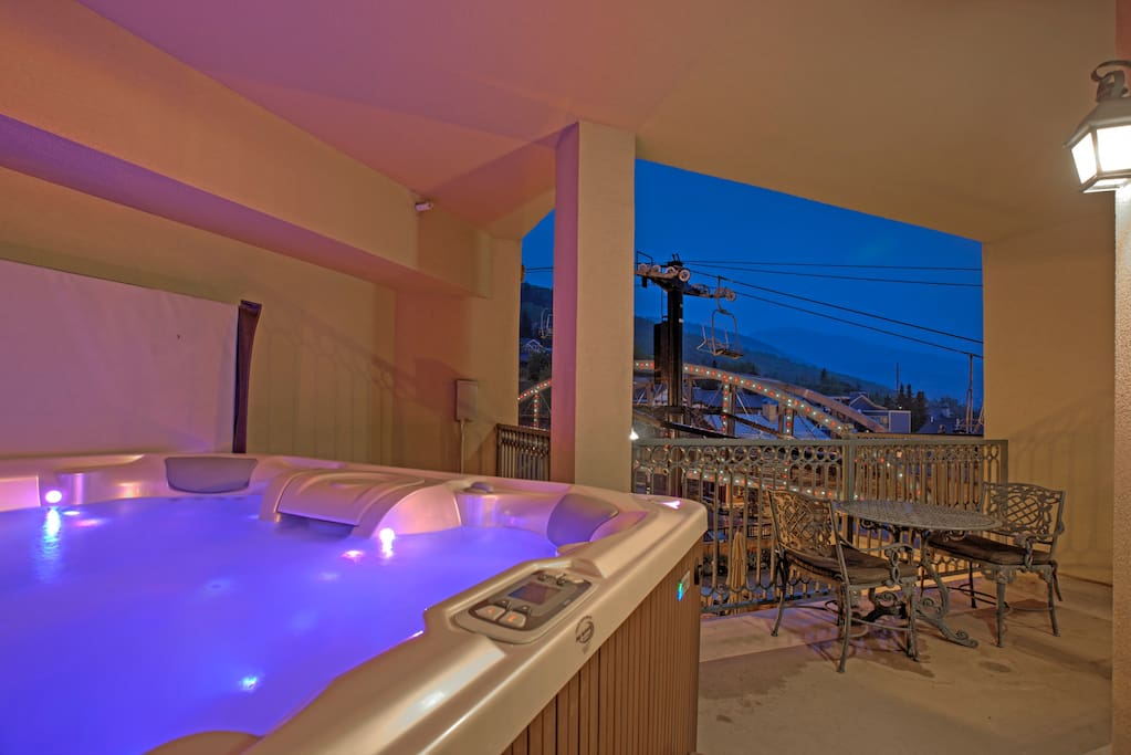 View from the 8 person hot tub towards the ski bridge and Park City Moutain Resort