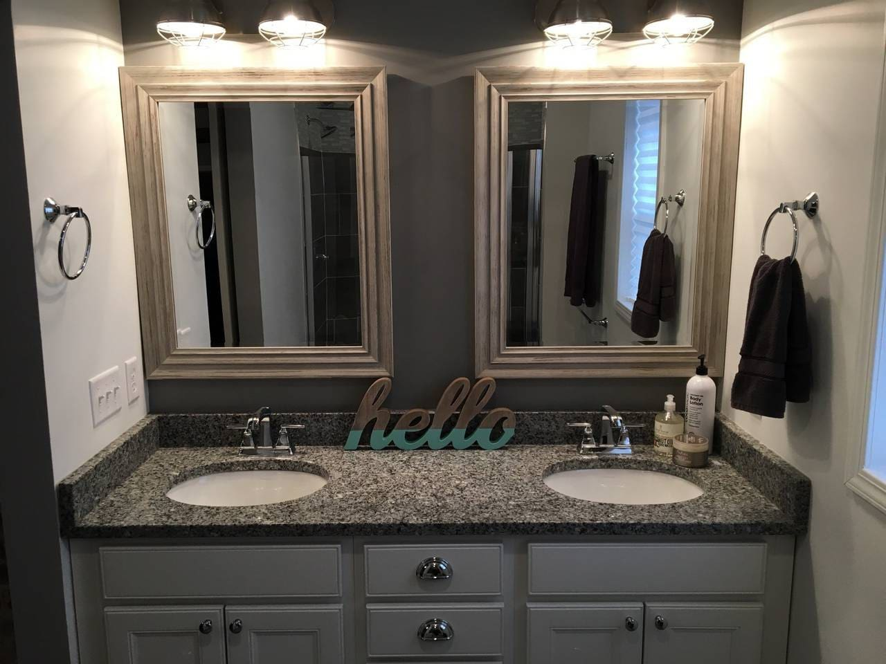 Dual sinks in large master bathroom offer plenty of space to stretch out and prepare for your day!