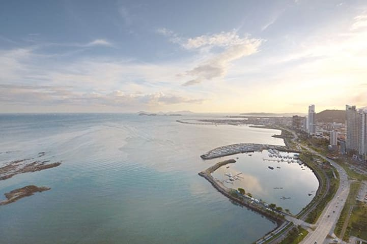 View of Panama Causeway And Canal
