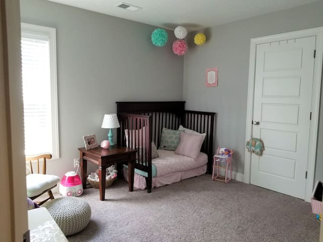 Bedroom now has a twin size bed in it. Crib still available if needed.