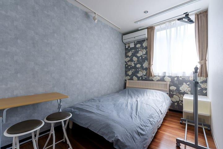 Semi-double bed for 2P♪15min Akihabara☆G70-15