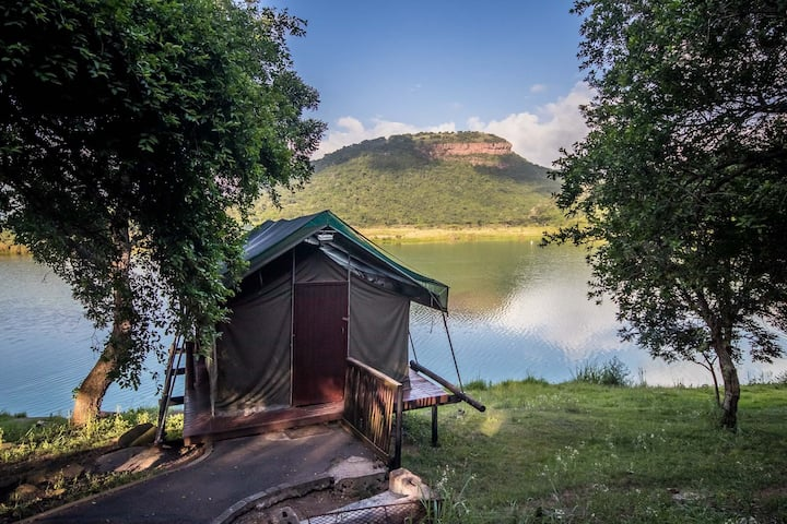 Tented Camps with lovely view of a beautiful dam