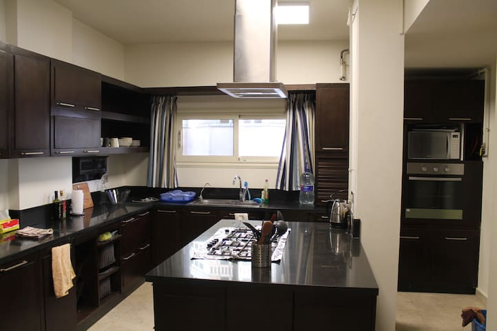 American Kitchen with stainless steel appliances and breakfast bar
