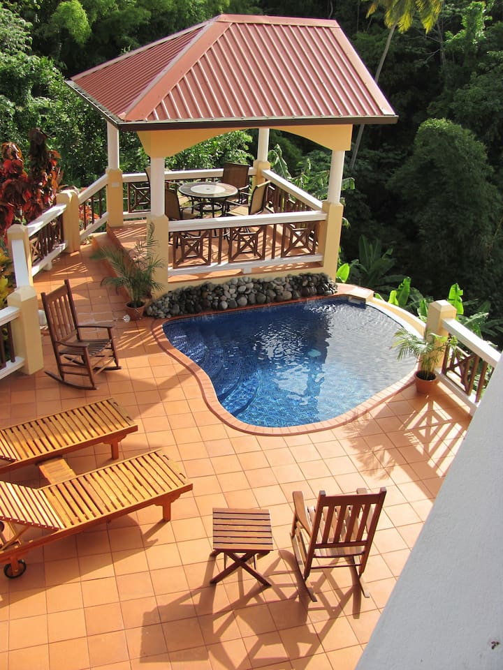 Upper deck, pool with gazebo and gas grill.