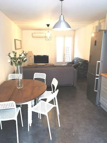 Grand appartement T2 climatisé avec terrasse en RC