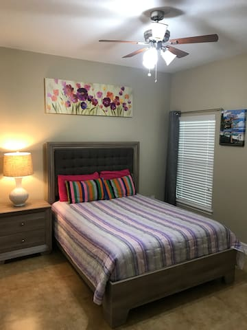 Silent and efficient ceiling fan included in the room, and central heat/air in the house.