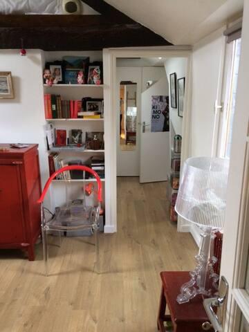 L'intérieur vu de l'entrée : tout droit, après la bibliothèque la salle de bain + les toilettes et en face (à droite donc la porte de votre chambre)