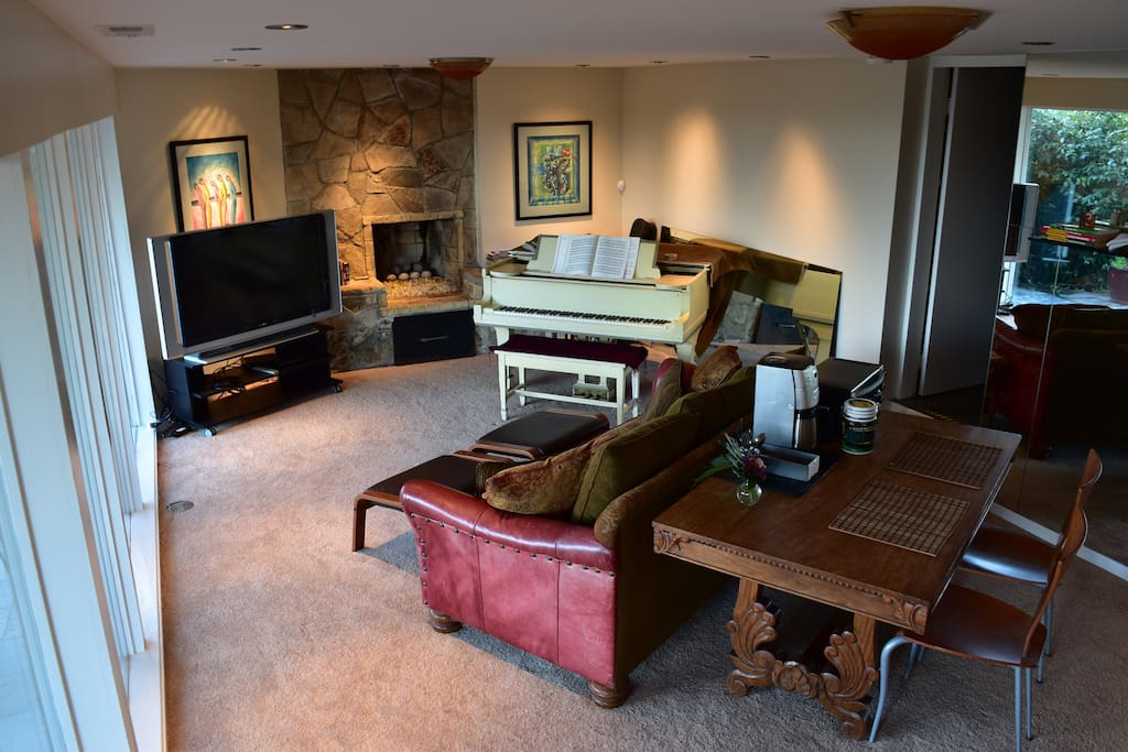Private Living Room with Eating Table, coffee maker, toaster oven.