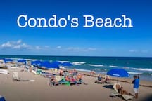 Condo's Private beach and next to tiki bar restaurant and a heated swimming pool