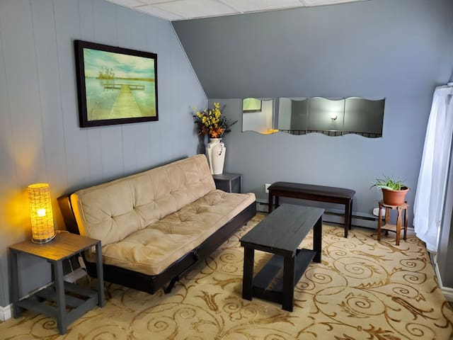 Living room with futon bed.
