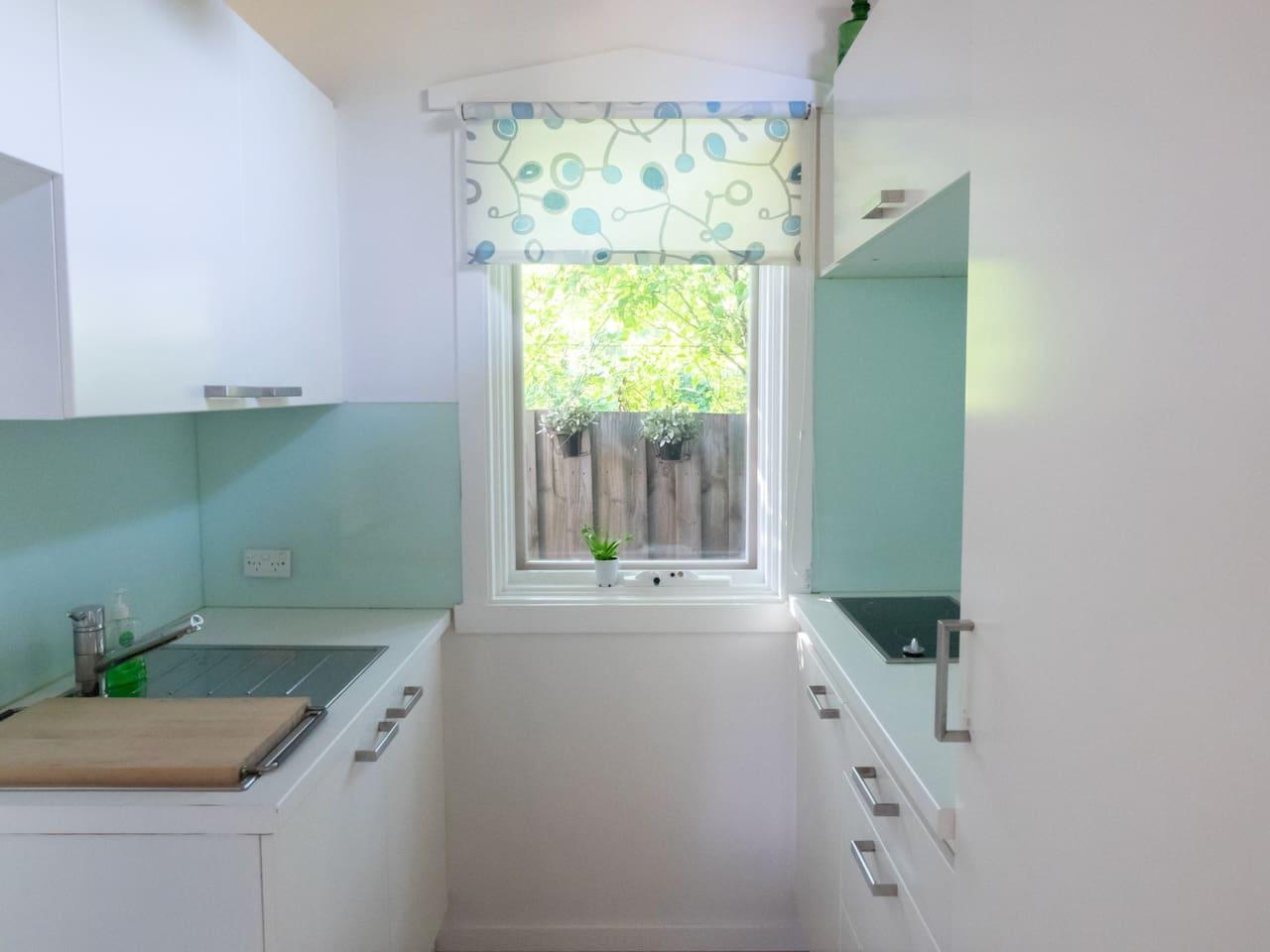 Modern galley style kitchenette