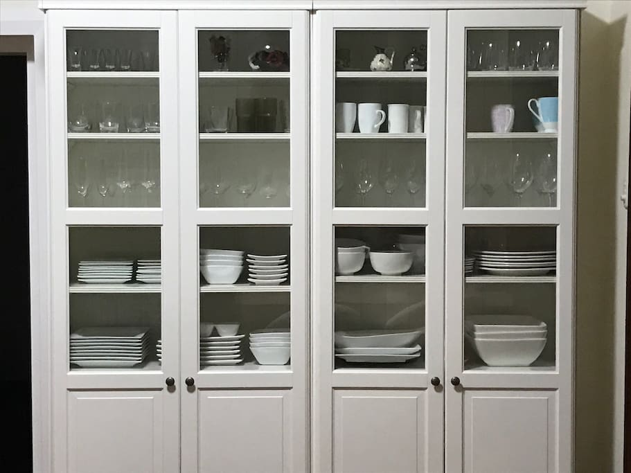 A well stocked crockery cabinet to meet all your entertaining requirements.