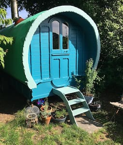 Charming Gypsy wagon, Cornwall in a private garden