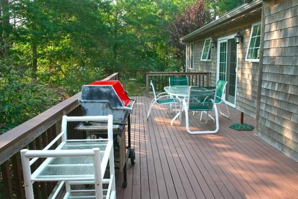 two decks, great for sunning & relaxing. One has outdoor shower