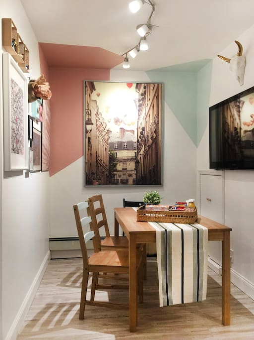 "Cozy dining room, seats at least 4 people comfortably. With 47"" LED TV, Netflix and Apple TV all set up ready to enjoy."