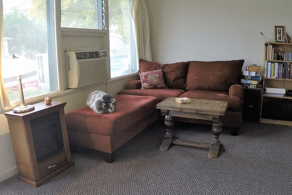 Our living room has comfy couches and a warm atmosphere