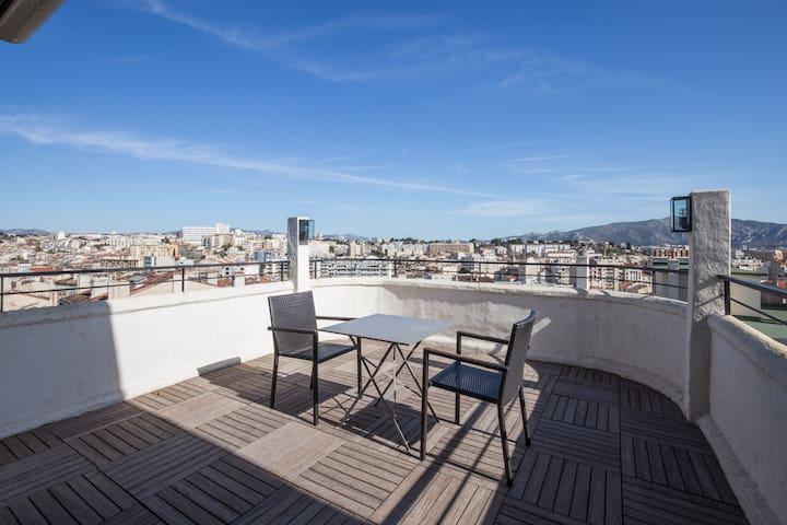 Grand studio, Toît terrasse 16m2, Vue panoramique. - Marsylia - Apartament