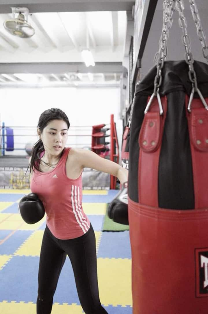 Work with sand bag for powerful punch