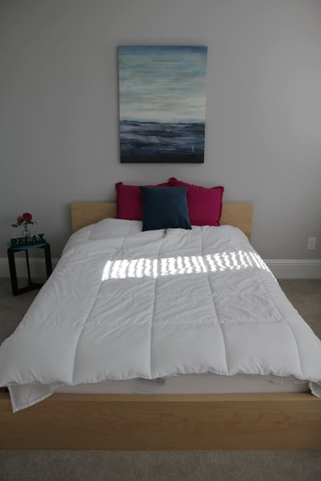 guest bedroom- queen bed and large windows which allow lots of natural light