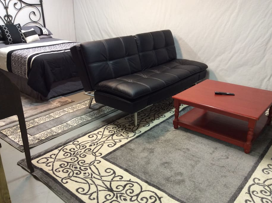 Small living area to kick back and watch TV on the Futon or Expand to Sleep 2 Additional