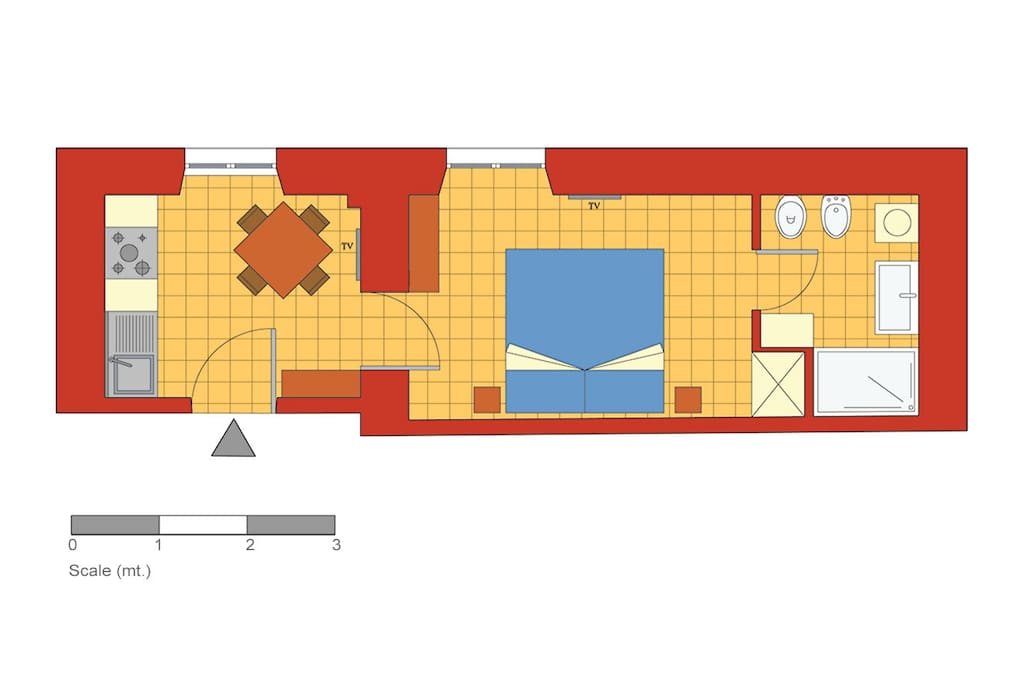 One bedroom holiday apartment near the Vatican - Floor plan