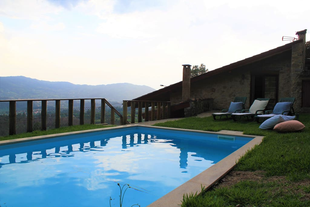 Pool area with wonderful view over the valley