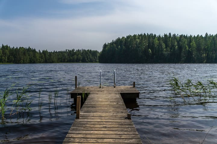 THE lake - about 400 meters from the house. Private sand beach and sauna.