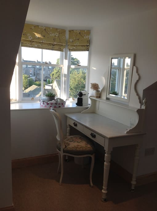Dressing table with south facing bay window.
