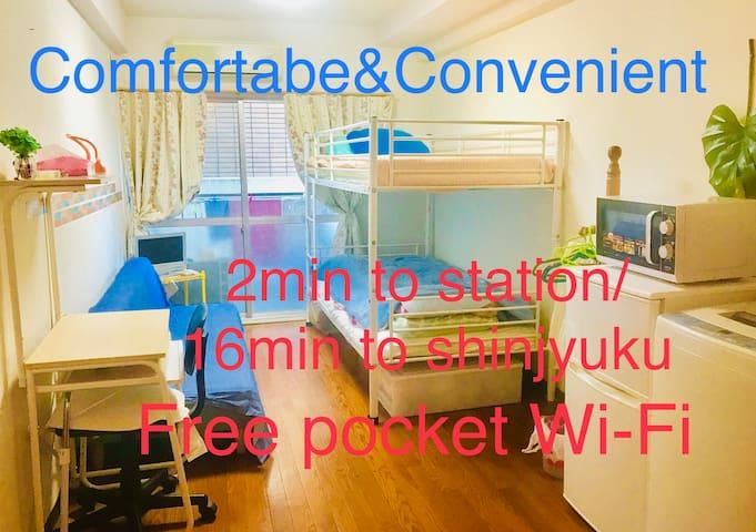 Comfortable room:2min to station:16min to shinjyuk