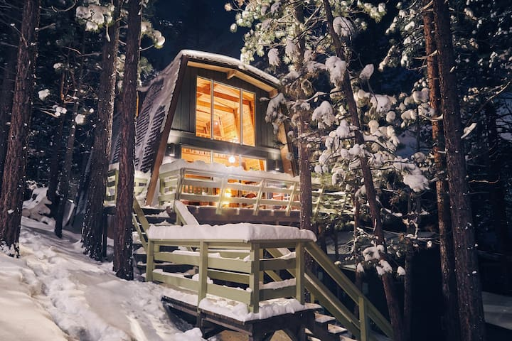 Treehouse Vibes the night after a snow storm.