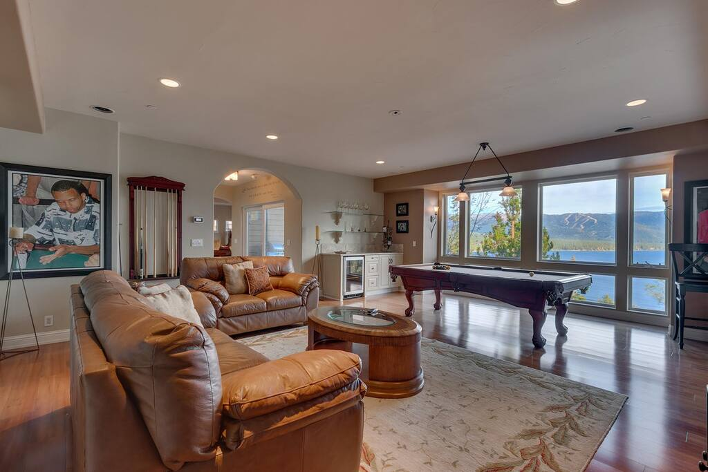 Sweeping views of alpine Lake Tahoe from the billiards and media room