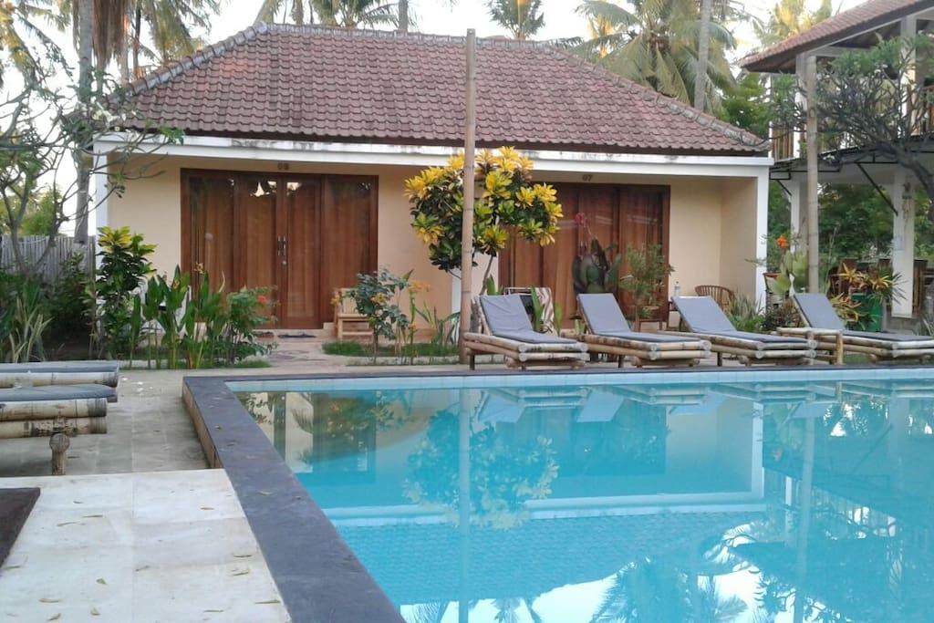 Room and swiming pool