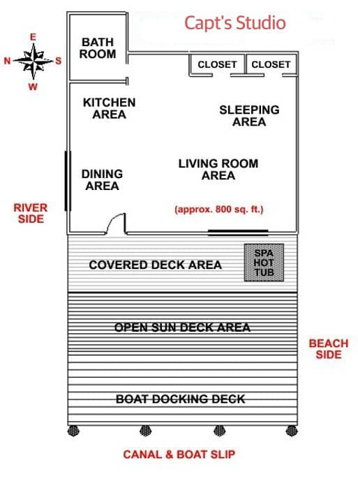 General layout of The Studio and decks