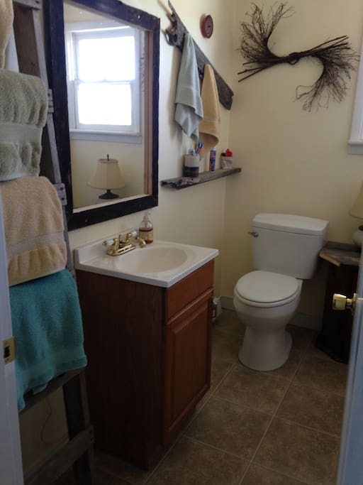 The shared bathroom is right across the hall