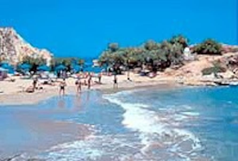 Almirida beach, a short drive away.