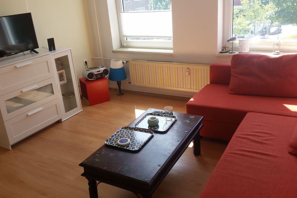 Wohnzimmer mit ausziehbarer Couch die bis zu 2 Personen nutzbar ist