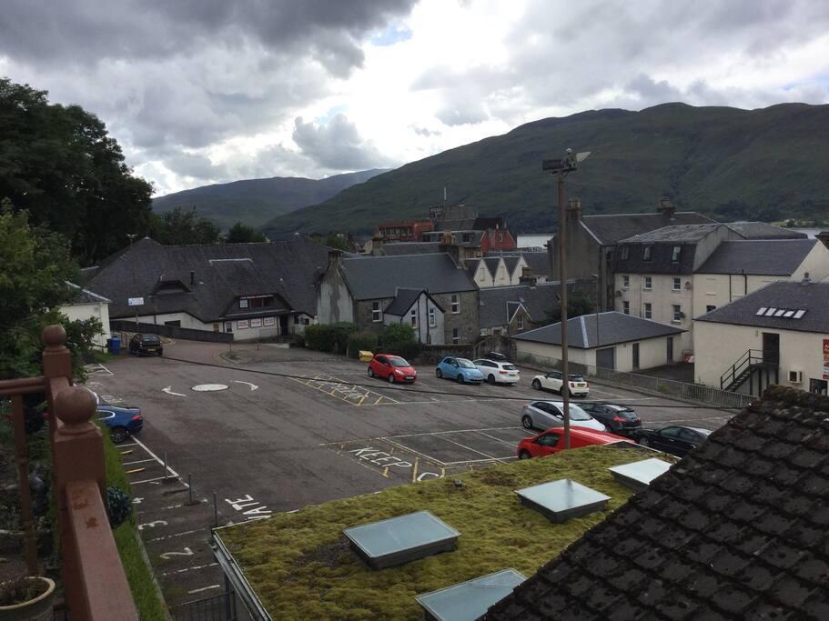 View over Fort William to Loch Linnhe and the Hills of Ardgour.