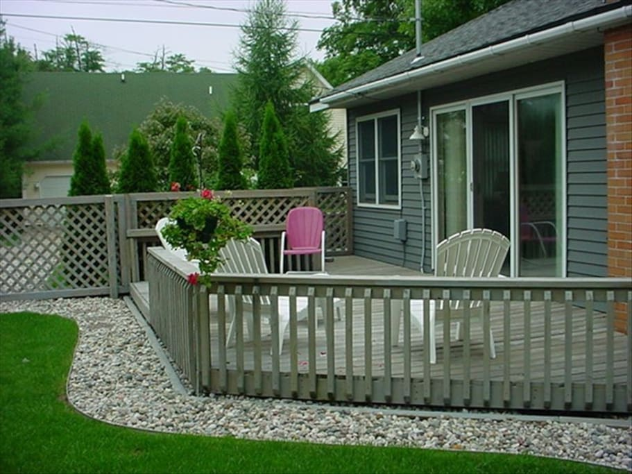 Deck and fenced in back yard