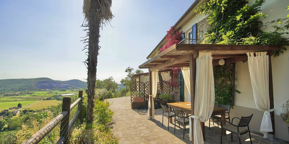 Wonderful sun terrace with ample space outside each of the houses, BBQs on wheels, great seating and lounging space. Breathtaking views showing Pisa, The Leaning Tower, forest, field, olive grove and Mediterranean Sea and Corsica in the distance