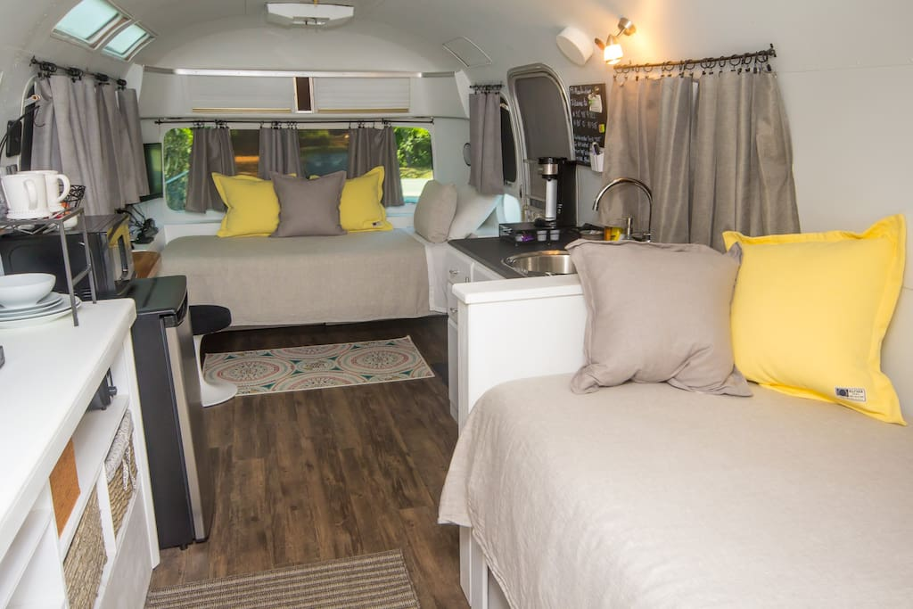 Completely remodeled vintage Airstream interior.