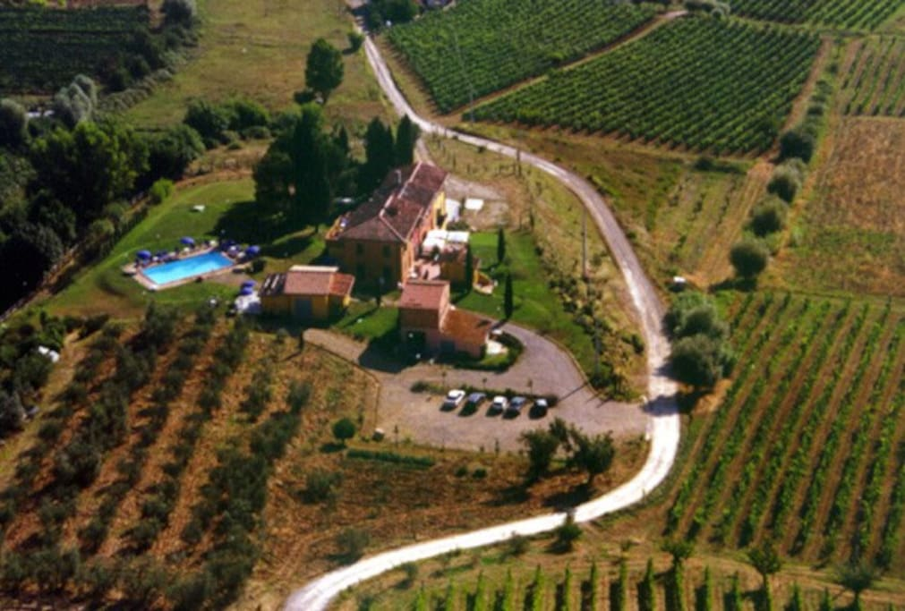 all surrounded by vineyards and olive grows