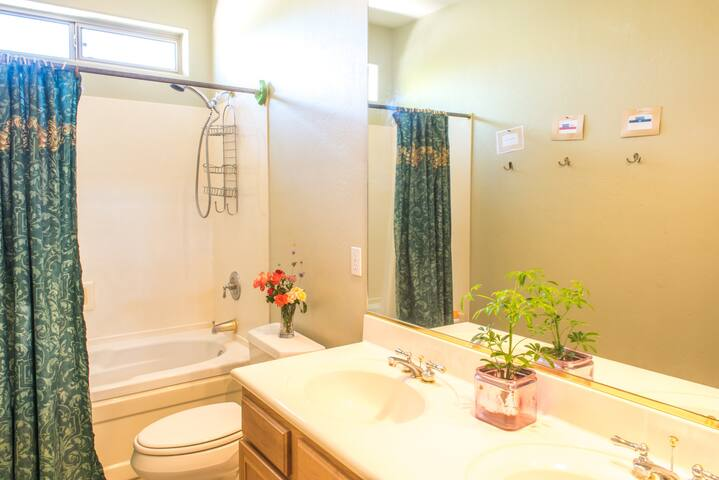 Your bathroom with double sinks. Could be private if other room isn't rented.