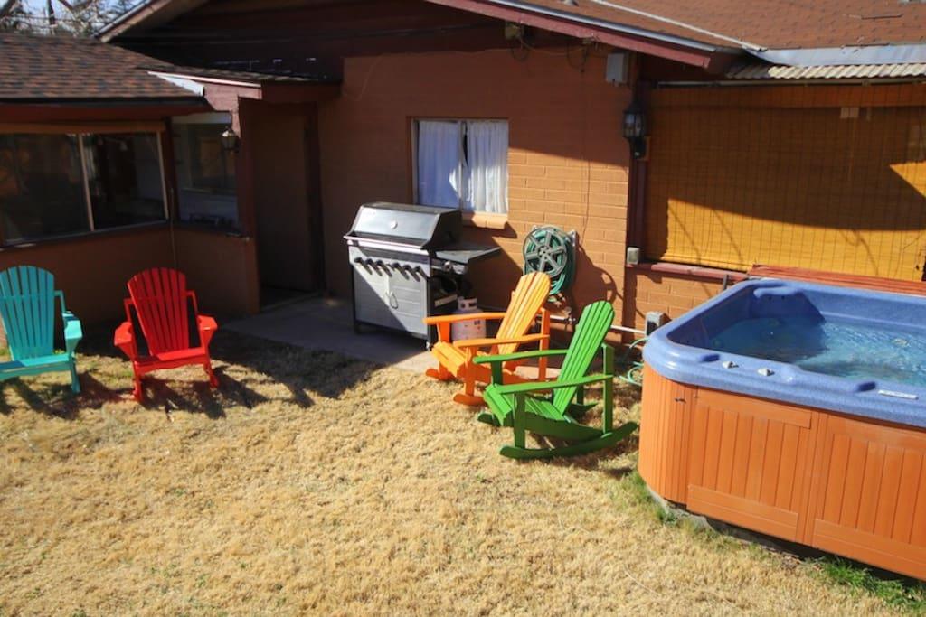 Backyard Chairs and Hot Tub