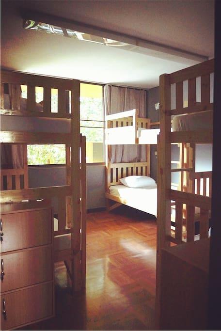 六人间清晨 A warm morning sunshine reachs to our 6 bed dorm