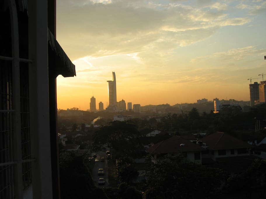Beautiful sunset view of city and MidValley..Largest shopping Mall...