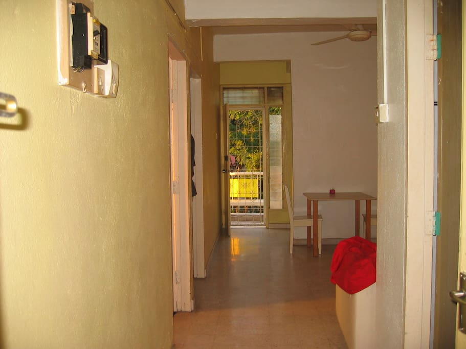 View from main entrance toward living and balcony