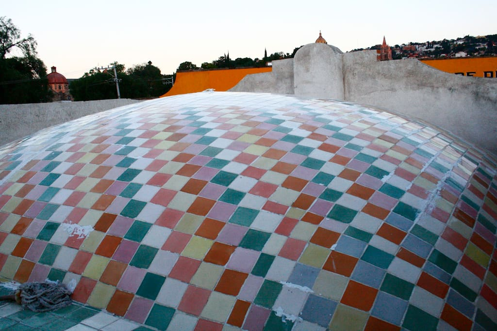 This is the master bedroom dome seen from the rooftop garden.