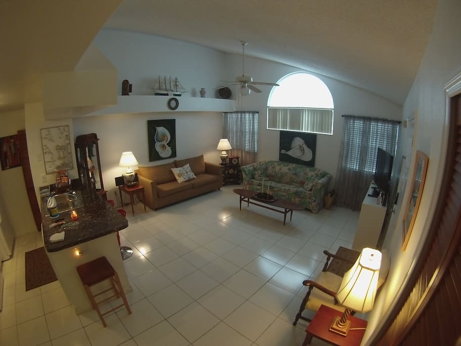 Spacious living room area with 1 pull out sleeper couches
