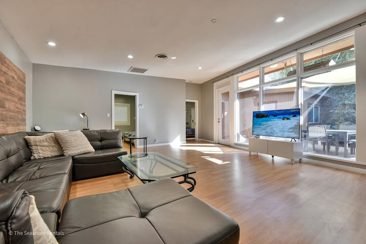 Spacious living room with garden view.