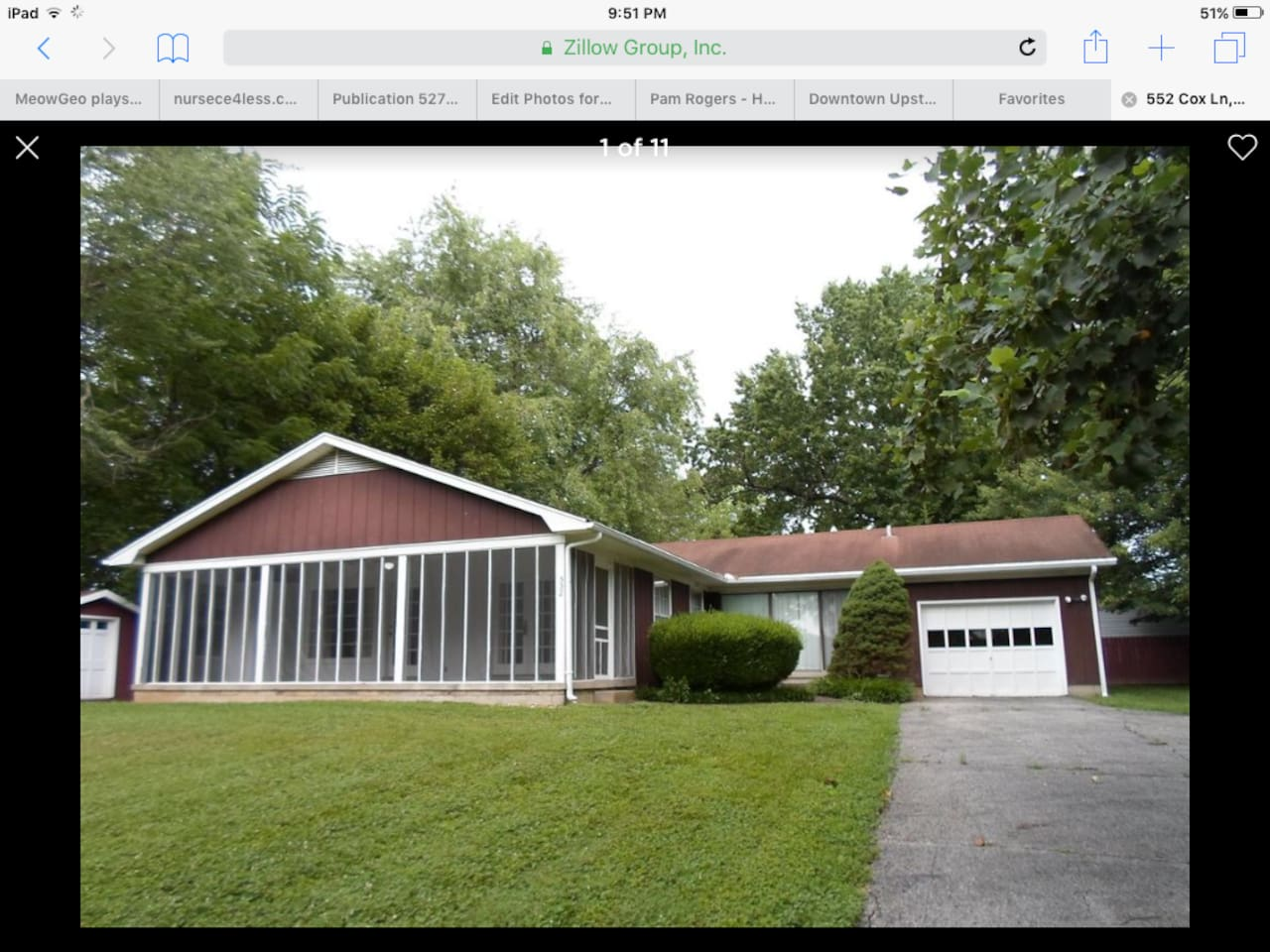 House on 0.5 acre lot with trees and privacy on a dead end road.  It is close to downtown attractions, and there is a public fishing lake and hiking trail assessable by foot.  Easy assess to I-65.